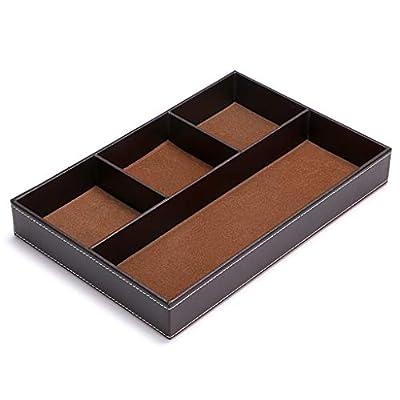 BTSKY Desk Drawer Organizer- Flat 4-Slot Leather Drawer Tray Desk Office Supplies Stationery Sundries Gadget Container Dresser Top Organizer Box