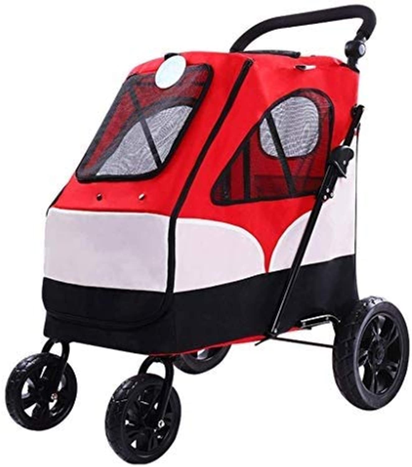 QNJM MultiFunction FourWheeled Pet Stroller, Folding Large Capacity Cat And Dog Universal FourSeason Pet Bracket (Red)