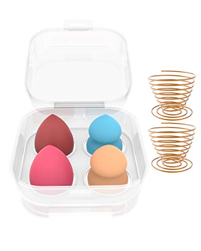 Makeup Sponge Blender Set, Makeup Sponge Holder, Beauty Cosmetic Foundation Blending Applicator Puff for Liquid Foundation Cream and Powde (Multi Color)4+2.