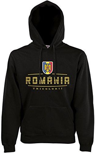AkyTEX Rumänien Romania Fan-Hoodie EM-2021 Kapuzenpullover Schwarz L