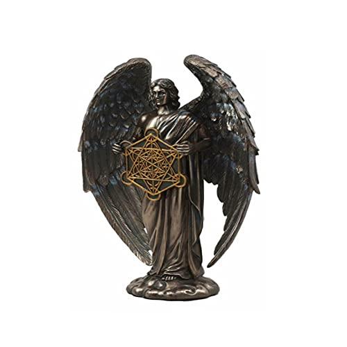 SWTMF Erzengel Metatron, der die heilige Geometrie-Würfel-Harz-Statue hält, geeignet für Schlafzimmer, Wohnzimmer, Büro, Esszimmer
