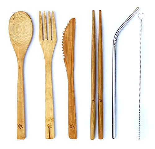 Wild & Stone | Set di 8 Picnic di Bambù Biologici Riutilizzabili | Cucchiaio di Bambù Forchetta, Coltello, Bacchette, Cannuccia in Acciaio Inossidabile e Borsa per il Trasporto