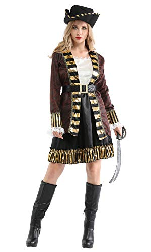 Shanghai Story Halloween Party Woman Pirate Cosplay Costume Caribbean Pirates with Hat Size M