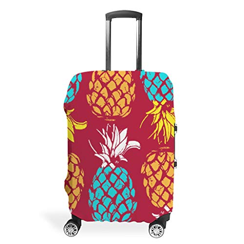 Zhcon Luggage Covers Washable Spandex Travel Suitcase Luggage Cover Dust-Proof Anti-Thief Baggage Protective Case Pineapple Fruit 3D Printing White m (60x81cm)