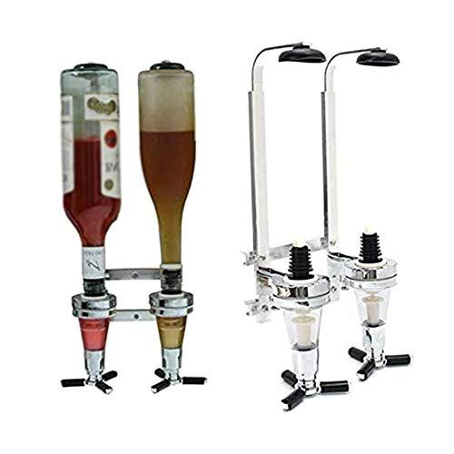 DHFD Flaschenhalter und Dosierer, Ausgießer, für Spirituosen, Getränke, Wandstange für 2 Flaschen, Getränkeportionierer Bar Butler Flaschenhalter Wandmontage Wand, Bar Wand