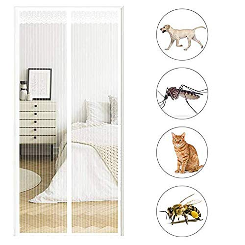 Magnetic Screen Door with Heavy Duty Mesh Curtain,Anti Mosquito Door Net with Magnets Fits,Patio Screens Door Mesh Curtain Prevent Bug Mosquito,Let Fresh Air in 90×205cm(35x81inch) White
