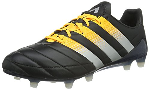 adidas Ace 16.1 FG/AG Leather, Scarpe da Calcio Uomo, Nero Core Black Silver Met Solar Gold, 40 2/3 EU