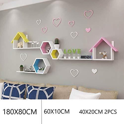 Rustiek Drijvende Planken Wit Wandplank Opslag Organizer Huis Decoratief Hangend Vertoningsrek Met Beugels Voor Huiskamer (Size : C)