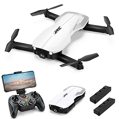 Drones with 1080P HD Camera for Adults, JJRC Foldable Drone with 2 Batteries, Optical Flow Positioning Quadcopter with Carrying Case for Beginners-Headless Mode,Altitude Hold(White)
