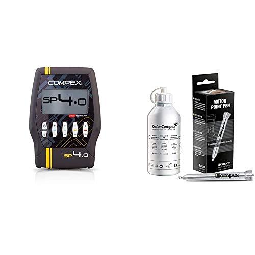 Compex SP 4.0 Elettrostimolatore, Nero con Banda Gialla & Motor Point Penna, Argento, Standard