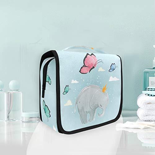 Mariposa Elefante De Dibujos Animados Trousse De Toilette Sac Pliable Suspendu Cosmétique Sac Rangement Maquillage sacs pour Voyage Femmes Filles