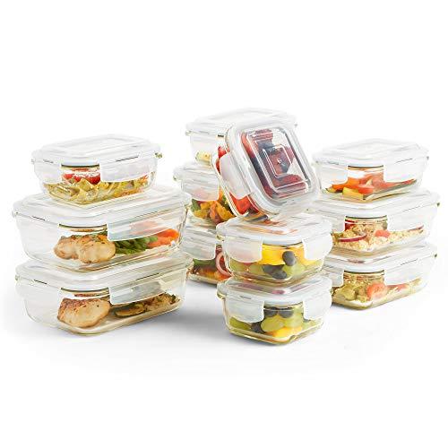 VonShef Frischhaltedosen aus Glas mit nicht-BPA-Deckel, verschiedene Größen, 24 Stück
