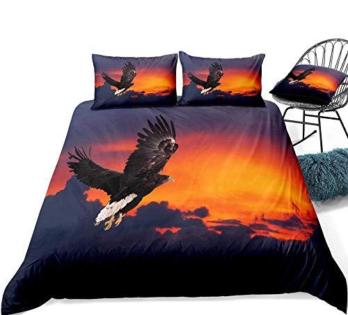 Juegos de ropa de cama Impresión 3D 3 piezas Ropa de cama de águila negra 3D Juego de funda nórdica de pájaros voladores Águila voladora en diseño de puesta de sol naranja Juego de cama de águila de v