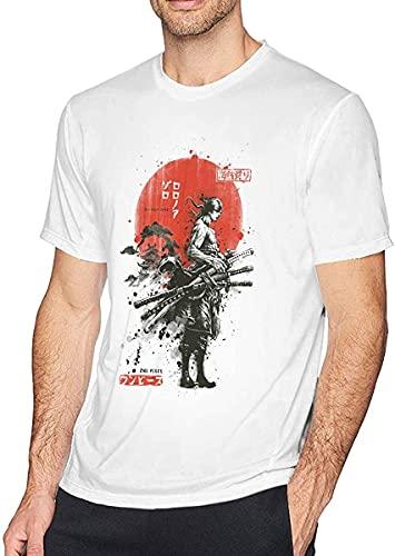 Carasbt Anime One Piece Samurai Roronoa Zoro Unisex Women's Men's Short Sleeve T Shirt Top (S-XXXL)(XXL) White