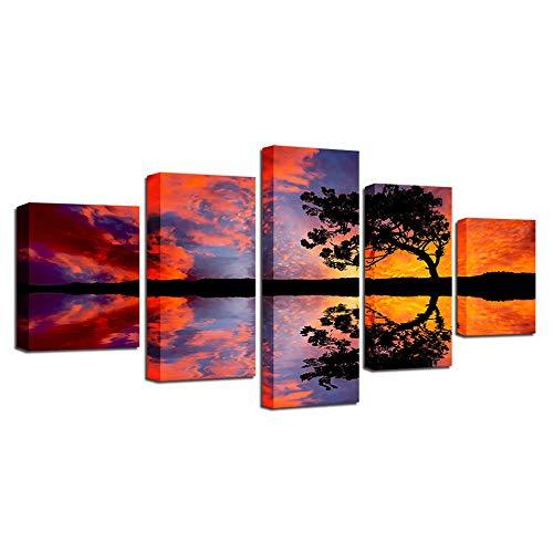 REWE TIK TOK Cuadros Modernos Baratos Salon Póster de árbol Grande Puesta de Sol roja-A_150 × 80cm Cuadro en Lienzo 5 Piezas Abstracto Moderno Grande Dormitorios Foto Murales para Pared XXL