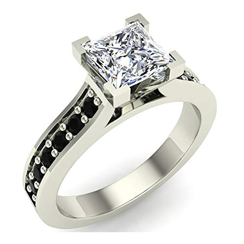 Glitz Design Mujer Niños Hombre Unisex Plat-950 platino talla princesa redonda Black Diamond