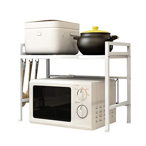 Amberzcy Rétractable Micro-Ondes Rack 3 Niveaux de Cuisine du Plateau Organisateur Lisser en Acier au Carbone Micro-Ondes Plateau (Color : White)