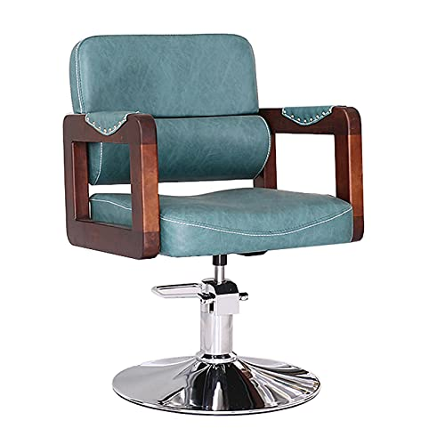 FLAMY sillones peluqueria,Sillón de peluquería Profesional, sillón Giratorio 360º con Base Fija y reposapiés de Metal,Altura Regulable,sillón reclinable,Cuero PU,Verde/marrón
