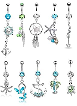 Besteel 10 Pcs Surgical Steel Dangle Belly Button Rings for Women Curved Navel Barbell Body Jewelry Piercing