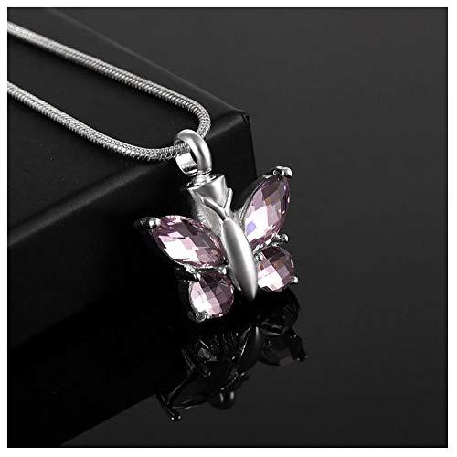 Wxcvz Collar para Cenizas Encanto De Mariposa Accesorios De Mujer Joyería Collar De Cremación Joyas Funerarias Cristal De Murano Caja Pequeña Colgantes