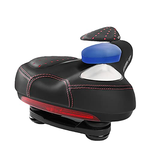 LXFHOMED Comfortable Men Women Bike Seat Memory Foam Padded Leather Wide Bicycle Saddle Cushion with Taillight, Waterproof, Dual Spring Designed, Soft, Breathable, (One size,Red)