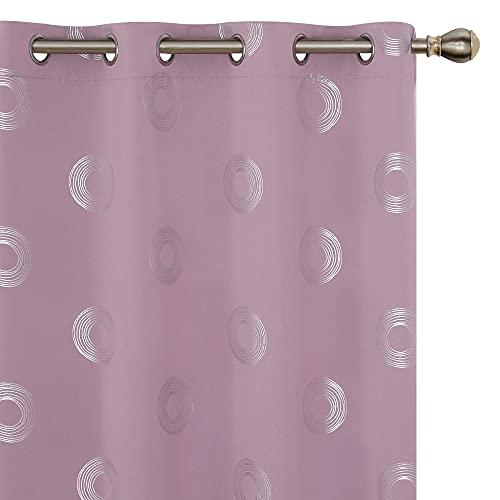 Amazon Brand - Umi 2 Stück Vorhang Blickdicht Gardinen Lichtundurchlässig Thermo Runde Muster Wohnzimmer 175x140 cm Hellpink