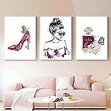 Perfume Cartel de moda Pestaña moderna Pintalabios Maquillaje Impresión Lienzo Arte Pintura Cuadro de pared Habitación de niña moderna Decoración del hogar 40x60cmx3 Sin marco