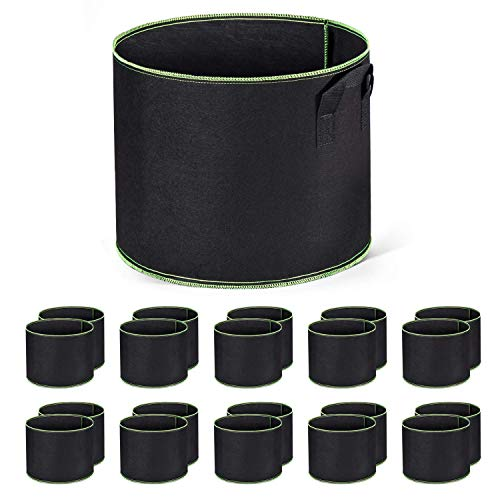 Delxo 10-Pack 5 Gallon Grow Bags Heavy Duty Aeration Fabric Pots...