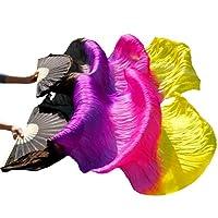 シルクベリーダンスシルクファン1ペア手作り染め扇子中国舞踊扇子ベール(L-180 * 90CM、2)