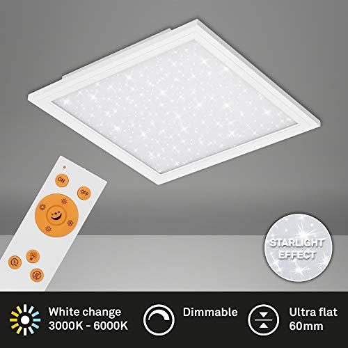 Briloner Leuchten - LED Panel, Deckenlampe inkl. Sternendekor, Deckenleuchte dimmbar, Farbtemperatursteuerung (CCT), inkl. Fernbedienung, 24 Watt, 2.400 Lumen, Weiß, 450x450x60mm (LxBxH)