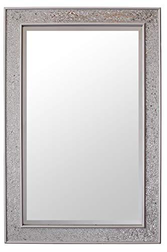 Glamour by Casa Chic Miroir Mural Design - Miroir rectangulaire Mosaïque Moderne - Salle de Bain, Salon ou Chambre - Grand 90 x 60 cm - Argent Brillant