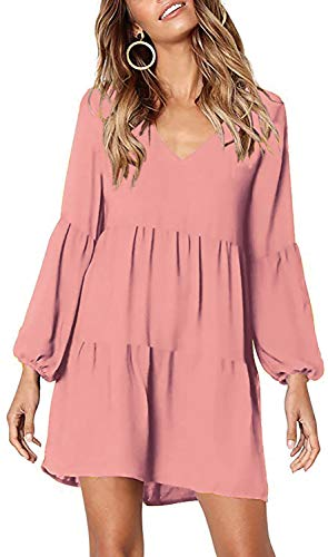 Chvity Women's Long Sleeve Solid Pleated Loose Casual Babydoll Dress, Pink, S