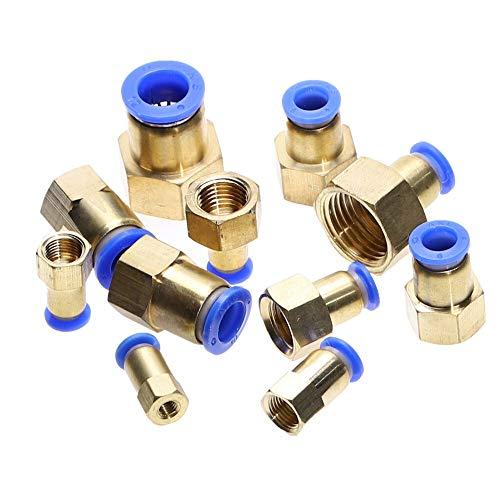 NO LOGO 1pc Manguera 4 mm 6 mm 8 mm 10 mm 12 mm Conector Racores de 1/8 '' 1/4 '' 3/8 '' 1/2 '' Push Rosca Hembra en el acondicionamiento de Aire de la tubería Conjunta (Color : 1/8', tamaño : 6MM)