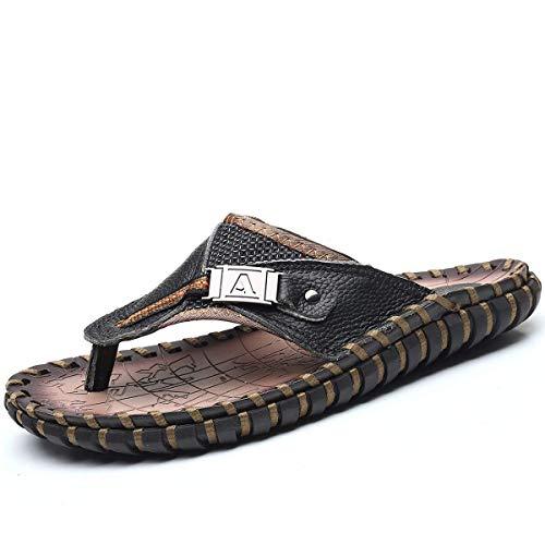 Sandalias de cuero para hombre de moda de verano de lujo chanclas casuales zapatillas planas zapatos de playa para adultos hombres interiores y exteriores comodidad negro 10