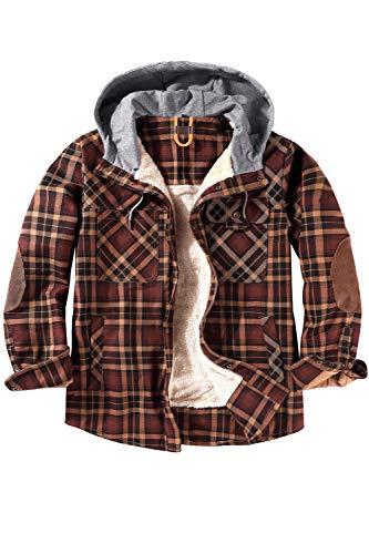 Mr.Stream Herren Thermohemd Flanellhemd Winterjacke Fleecefutter schützendem Innenfutter Holzfällerhemd Arbeitshemd Hoody Large Coffee