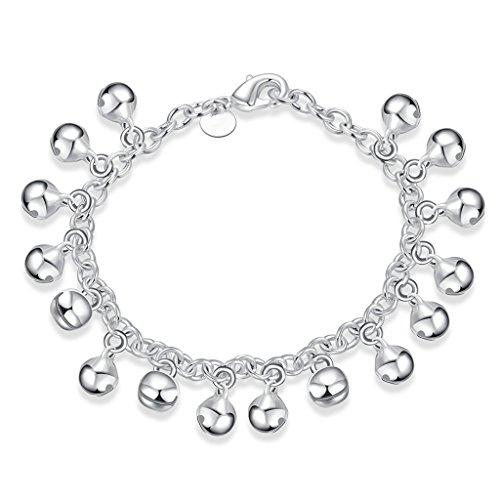 NYKKOLA Fashion Armband mit Glöckchen-Anhängern, Silber 925