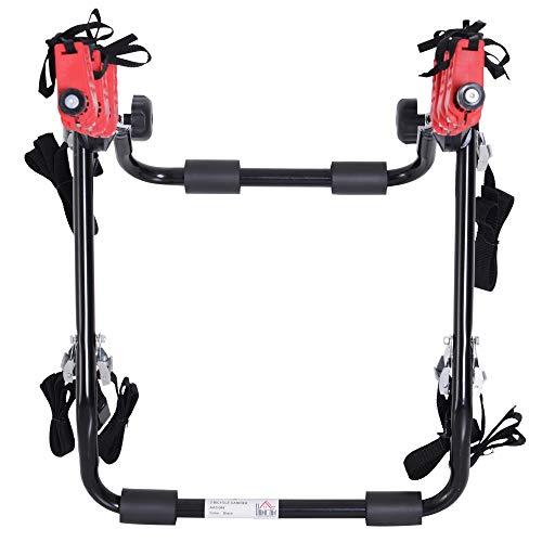 HOMCOM Fahrradheckträger für 3 Fahrräder Fahrradträger Heckträger faltbar mit Sicherheitsseile Metall + Kunststoff - 5