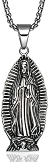 Virgin Mary Prayer Long Men Necklaces Pendants Chain Punk for Boyfriend Male Stainless Steel Jewelry Creativity Gift - 60cm,A