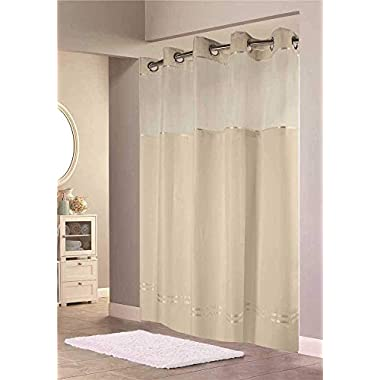 Hookless HBH40E258 Escape Shower Curtain, With Snap In Liner, Beige With Beige Stripe, 71  X 74