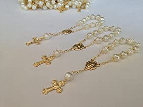 25 Pc Ivory Color Baptism Favors Gold Plated Accents Mini Rosaries Gold Plated Acrylic Beads/Recuerditos De Bautismo/Christening Favors/Decenarios/Decades/Finger Rosaries
