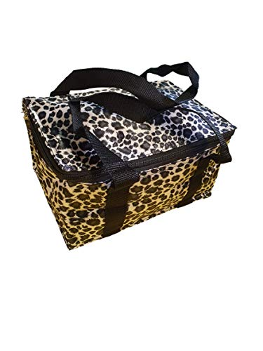 Fat-catz-copy-catz Black/white leopard animal print recycled eco friendly, waterproof & insulated (hot & cold) ladies, girls, kids, lunch bag, handbag