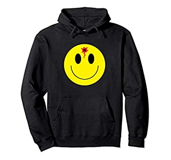 Smiley Face Bullet Hole Funny Hoodie Men Women Happy Gift