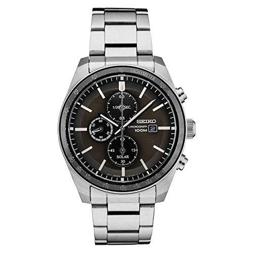 Seiko SSC715 Solar Stainless Steel Grey Dial Men's Chronograph Tachymeter Watch