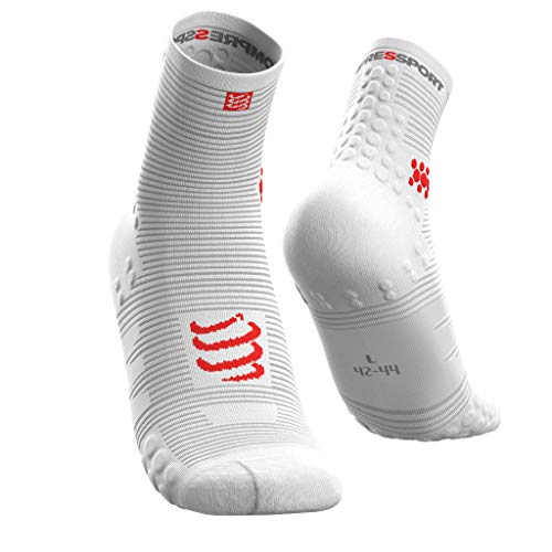COMPRESSPORT Pro Racing Socks v3.0 Run High Calcetines para Correr, Unisex-Adult, Blanco, T2
