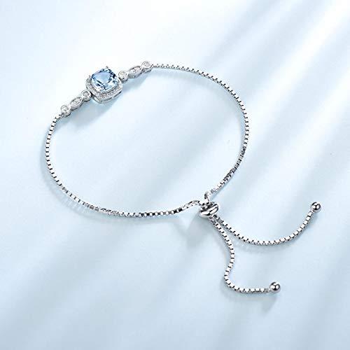 yuge Nano aguamarina pulsera para mujer plata de ley 925 maciza piedras preciosas alta joyería aguamarina