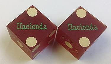Pair of Used Hacienda Casino Red Dice Las Vegas Nevada Matching Logo Green Foil
