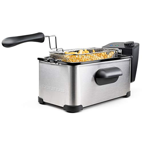 Taurus 973967000 - Freidora de aceite Fry3, 3 L, 1 kg de patatas, 2000 W, temperatura de 150 a 190 grados Celsius, aceite limpio más tiempo, desmontable, Apta para lavavajillas