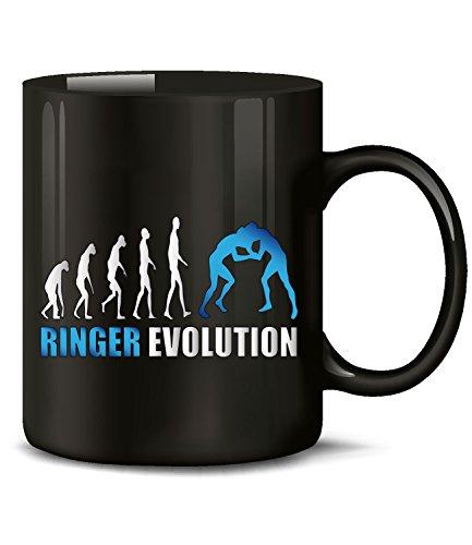 Golebros Ringer Evolution Kampfsport 4674 Geburtstag Geschenk Fun Tasse Becher Kaffeetasse Kaffeebecher Schwarz-Blau