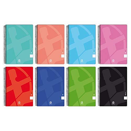 Unipapel 98440296 - Confezione da 10 quaderni a spirale, carta a righe da 2,5 mm, copertina morbida centauro 01 – Uniclasic, formato protocollo, 80 fogli, 60 g, colori assortiti casuali
