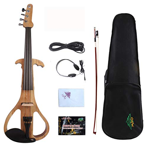 4/4 Electric Violin Solid wood Ebony Fittings Silent Active Pickup Natural Wood Color Guitar Head Violin Case Bow